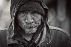 Sans Abri (Standard Deluxe) Tags: sanfrancisco california street portrait blackandwhite man wet rain homeless 135mm 135l canonef135mmf2lusm