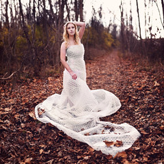 Bubble Wrap Dress (Cameron Bushong) Tags: ohio woman cold model woods nikon dress path bubblewrap