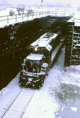PRR SD45 at Rockville Bridge, snowy day, March, 1970 (miningcamper) Tags: railroad snow train railway prr rockvillebridge pennsylvaniarailroad penncentral fallenflags emdsd45