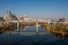 Early Morning on the Nashville River (jeff_a_goldberg) Tags: skyline unitedstates nashville tennessee hdr cumberlandriver nashvilleskyline shelbystreetbridge