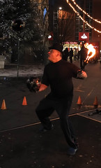 Goodness gracious... (Brian Negus) Tags: street england ball fire unitedkingdom leicester christmastree clocktower entertainer juggler