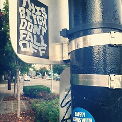 (croissantthief) Tags: seattle streetart graffiti wheatpaste graf stickers slap slaps slaptag seattlestreetart thisbitchdontfalloff