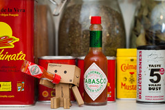 23rd November (328/365) (chrismartinez.co.uk) Tags: food home kitchen japanese robot drink sauce character spice cardboard figure tabasco chilli figurine umami danbo project365 revoltech