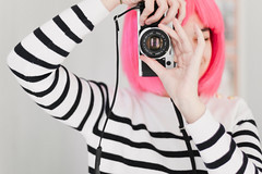 21/52 - Pink Wig (AndreaDrops) Tags: camera pink film canon vintage 50mm sweater stripes 50mm14 canonae1 zara filmy 500d pinkwig 52weeks goldenbuttons stripedjumper t1i canont1i stripersweater