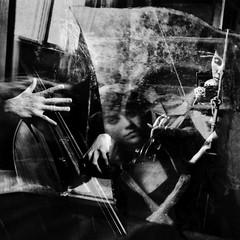 """Wahlverwandtschaften"" (helmet13) Tags: bw music woman reflection window cafe raw multipleexposure bassist windowshopping violinist studies aoi 100faves electiveaffinities d700 heartaward world100f bestcapturesaoi"
