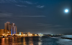 Limassol at night ( view from the pier ) (Phototamer) Tags: city sea moon night stars lights coast pier seaside view cyprus fullmoon kot cityatnight d800 limassol enaerios charlescharalambous limassolnightview copyrightcharlescharalambousallrightsreserved limassolatnight