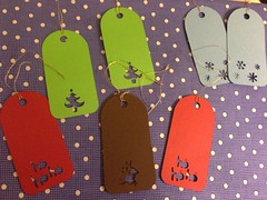 Punched gift tags. Love Rudolph! (Abighoopdedoo) Tags: from cute awesome tags gift stephanie earrings received pinner