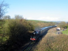 8624 is seen on the rear of 44767 as they head back down the line from Cauldon Lowe, 13th Nov 2010. (Dave Wragg) Tags: train railway loco steam locomotive 8624 48624 class8f cauldonlowe