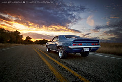 '69CamaroSSRear (Lunchbox PhotoWorks) Tags: road new sunset classic cars chevrolet 1969 clouds mexico nikon highway automobile texas muscle stripes tx rally ss wheels albuquerque racing camaro tokina chevy american abq d200 lunchbox nm 817 505 1224 manfrotto frontage 575 weatherford stroker 383 photoworks