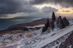Old Man of Storr, Winter Sunrise (Ally Mac) Tags: winter snow skye sunrise landscape island scotland isleofskye scottish stormy bleak oldmanofstorr