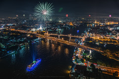 View of Bangkok (Weerakarn) Tags: bridge light modern night river landscape thailand temple boat twilight day cityscape nightscape bangkok celebration fathersday fathers goodview chaophrayariver bangkokview  viewofbangkok  unzeenthailand beautifulviewofbangkok