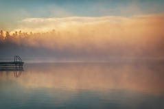 Sunrise in the Morning Mist (~EvidencE~) Tags: morning camping mist lake misty fog sunrise nikon quiet peace quebec calm evidence ontaio nikond300 camp222
