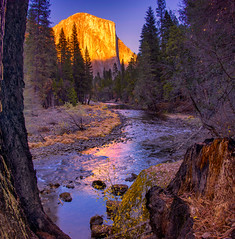 Last Light in the Valley (mojo2u) Tags: california sunset yosemite yosemitenationalpark elcapitan yosemitevalley mercedriver granitemonolith nikond800 nikon28300mm