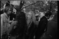 013-018 1-2 (Ari and the bear) Tags: street bw film analog montreal canona1 kentmere400 occuponsmontreal occupymontreal arianedepalacio