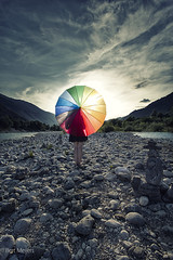 Sunset at the Soca river (thanks for 675.000 hits) Tags: sunset socariver slovenie umbrella woman great colours drama canon1022mm bertmeijers bmeijers
