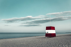 Empty Beach (ErlandG) Tags: denmark beach clouds landscape lifeguard ocean red sand sea shack sky white