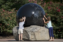 touch the world (Pejasar) Tags: boy girl earth world experience touch learn curiosity life lessons tulsa zoo oklahoma kids children discovery tactile hands planet big