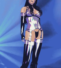 Illuminating (alexandriabrangwin) Tags: alexandriabrangwin secondlife 3d cgi computer graphics virtual world hugosdesign shiny glossy reflective rubber latex lingerie body corset camisole top suspender strap stockings boots leather buckle arm gauntlets fingerless gloves long gstring hair messy transparent blue mesh sexy beautiful pose model fetish outfit