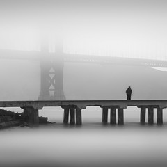 (C A Soukup) Tags: chrissyfield fisherman fishing fog ggnra goldengatebridge pier thelocalbridge wrminghut