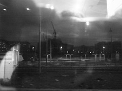 R0013132 (*_**_*_*_) Tags: sooc antipastel architecture blackandwhite bw blur grain noise monochrome city urban street dark dystopia electricity ricoh rome train