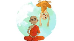 Meditating Monks (Duda.s.v) Tags: illustrationfriday illustration monk meditate orange digitalpainting