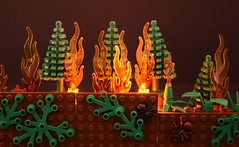 Forest fire (Alex THELEGOFAN) Tags: lego forest fire light lighting leaf tree flamme blaze burning spider ant legography