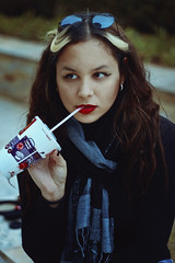 McCup (TheJennire) Tags: photography fotografia foto photo canon camera camara colours colores cores light luz young tumblr indie teen mcdonalds scarf winter fashion style cold drink curlyhair hair cabello pelo cabelo makeup eyes face self girl lifestyle