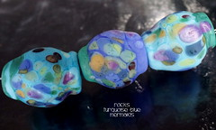Rocks Turquoise Blue Mermaids (Laura Blanck Openstudio) Tags: openstudio openstudiobeads glass handmade lampwork beads set jewelry rocks nuggets pebbles stones etched matte glow opaque whimsical funky odd organic earthy abstract multicolor colorful transparent raku faceted speckles frit fine arts art artist artisan made usa published winner show festival kiln annealed aqua turquoise green mermaid blue burgundy periwinkle lagoon ocean purple violet lavender lilac