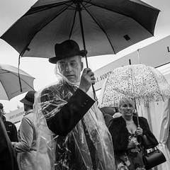 """""""I Never Trust These Damn Brollies"""" (Rich LT) Tags: street people candid bnw monochrome humour wit fuji xt1"""
