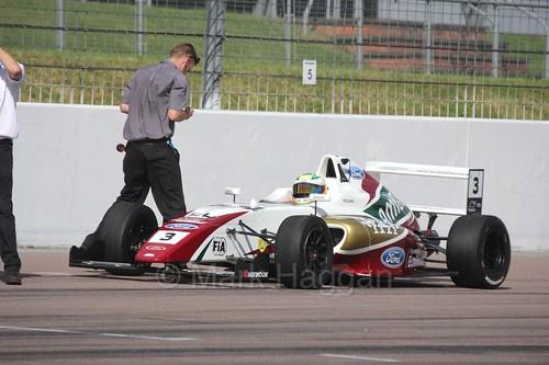 Sennan Fielding on the British F4 grid at Rockingham, August 2016