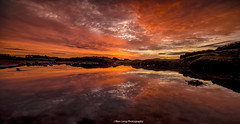 Westhaven Sunrise reflections (ben.leng) Tags: scotland sea rockpool northsea westhaven carnoustie reflection nature sun orange angus shore water still calm