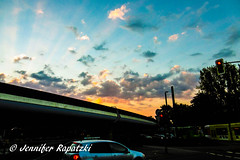 Candy sky over Benrather station (Bernsteindrache7) Tags: summer panasonic lumix landscape outdoor light color flora fauna heaven himmel city clouds sky street