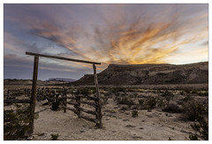 Corral at the Whit-Roy Mine (AnEyeForTexas) Tags: whitroymine bigbendranchstatepark chihuahuandesert creativecommons texasstatepark texasparks sunset western westtexas