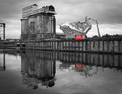 Wallerscote works demolition 26 sep 16 (Shaun the grime lover) Tags: wallerscote island winnington works sodaash brunnermond river weaver navigation selective colour color popping cheshire chemical demolition industrial reflection sign water