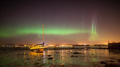 Blackness Aurora (Chee Seong) Tags: uk autumn green stars scotland boat shore midnight auroraborealis blackness northernlight farkirk