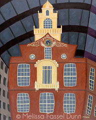 Boston Statehouse painting by Melissa Fassel Dunn (Melissa Paints) Tags: massachusetts oldstatehouse bostonstatehouse paintingsmelissafasseldunnbostonartistmelissafasselmelissadunnfolkartbostonartchildrensbookartillustrationsfunkyhomesfunartwhimsicalart