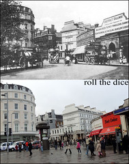 South Kensington`1905-2012 (roll the dice) Tags: uk travel people horse london art history classic cookies architecture circle underground hotel district transport tube railway toilet collection flats local cart museums changes demolished edwardian pelham 1905 oldandnew roundel southkensington onslow pastandpresent londonist kensingtonchelsea sw7 bygone hereandnow