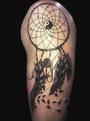 Tattoo idea number 4 (Just_Peachy13) Tags: blackandwhite tattoo beads feathers dream string yinyang tat dreamcatcher tattooidea skine
