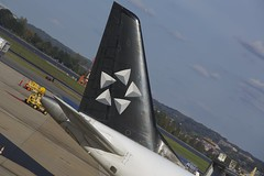 Republic Airlines tail with Star Alliance logo (Tomlin's Images) Tags: travel airplane washingtondc us dc airport ramp tail dca usairways embraer livery staralliance reagannationalairport yx usairwaysexpress e170 n828md republicairlines