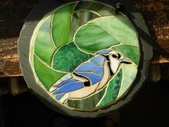 Blue Jay Mosaic Inspired by Kerri Farley's Photo (Nutmeg Designs) Tags: green bird glass mosaic mandala bluejay slate waynestratz stratoz kerrifarley