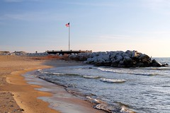 McKinley Beach and flagpole (johndecember) Tags: park morning november usa fall beach wisconsin gallery album lakemichigan milwaukee hdr lakefront 2012 mckinleypark mke photomatixpro photoscape mckinleybeach