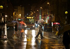 Not quite Abbey Road. (Ian 1967) Tags: bus wet rain night bath crossing unbrella imagesofbath beanie67 icbphotography