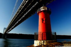 All Things Big and Small Have a Significant Place in the World (anna dance) Tags: world door new york city nyc bridge blue light red sky lighthouse house by river george big all place little small things have hudson gwb whashington significant