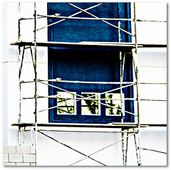 X | X | X (MyArtistSoul) Tags: blue windows white contrast reflections square scafolding minimal saturation ha xxx 4615