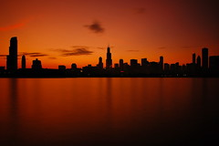 A 30 Second Sunset Shot (Seth Oliver Photographic Art) Tags: sunset chicago landscapes illinois nikon midwest long exposure skyscrapers shots searstower lakes cities silhouettes sunsets lakemichigan trumptower southloop pinoy urbanscapes secondcity windycity longexposures chicagoist citycapes d40 urbanskylines cityofbigshoulders 10stopndfilter perfectsunsetssunrisesandskys willistower setholiver1 chicagoskylines daytimelongexposures 18105mmnikkorlens tripodmountedshot remotetriggeredshot silhouetteskylines