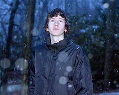 (allison.johnston) Tags: blue winter boy snow black cold dark outside outdoors snowflakes bokeh brother freezing pale jacket snowing curl flakes curlyhair