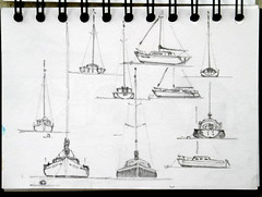 Lakes Boats (Line Roamer) Tags: uk england pencil boats sketch drawing lakes lakedistrict sketchbook cumbria lakeland
