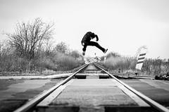 Honza Mal - heel flip (MICHAL JIRAK PHOTOGRAPHY) Tags: people blackandwhite bw motion love sport canon 50mm crazy dof prague skateboarding action bokeh railway praha spot skaters best chillin tricks spots skate 7d czechrepublic f2 adrenaline sk8 heelflip qualityphotos czecg skatelife sk8isgr8