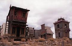 Fort Zion (QsySue) Tags: slr buildings utah mine mining virgin 35mmfilm amusementpark expiredfilm minoltamaxxum miningtown fujisuperia400 colorfilm 35mmfilmcamera minoltamaxxum450si fortzion