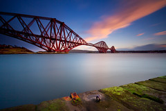 Big Red Bridge (been snapping) Tags: ocean uk bridge winter sunset sea seascape color colour clouds landscape coast scotland seaside day fife sigma escocia coastal schotland forthrailbridge ecosse simoncameron leebigstopper pwpartlycloudy